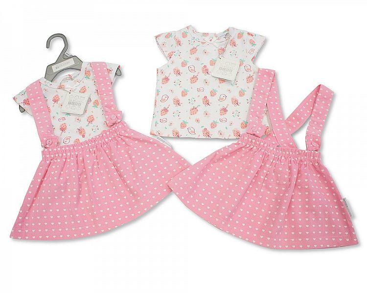 Baby Girls Corduroy Skirt Set - Strawberry - NB/6M - (Bis-2098-2050)