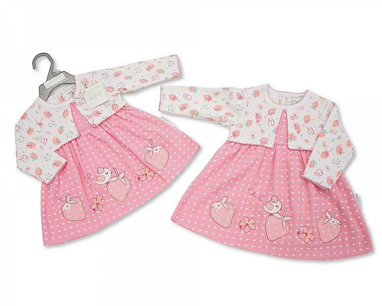 Baby Girls Corduroy Dress Set - Strawberry - NB/6M (Bis-2098-2052)