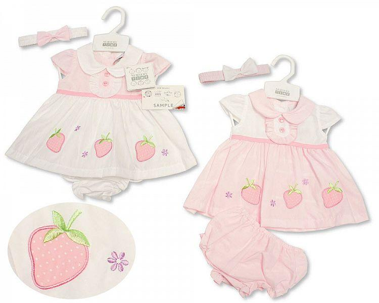 Baby Dress NB-6 Months - Strawberry Pink - 2164