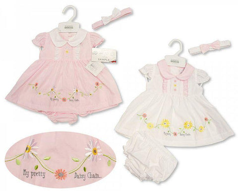 Girls Fashion Embroidered Lined Dress - Flowers - 1-3 Years (G3416)