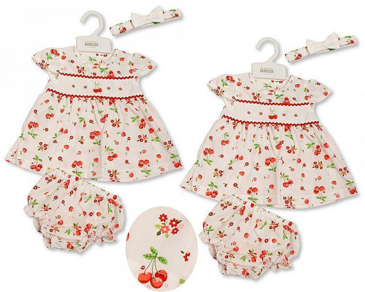 Baby Dress 0-9 Months - Flowers and Cherries - Bis-2099-2173 - Kidswholesale.co.uk