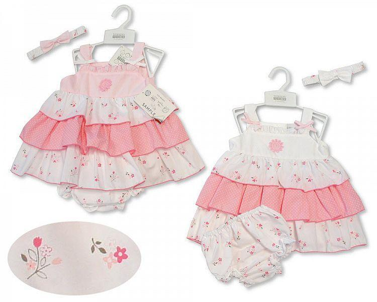 3-Tiered Baby Dress 9-24 Months - Flowers - 2181