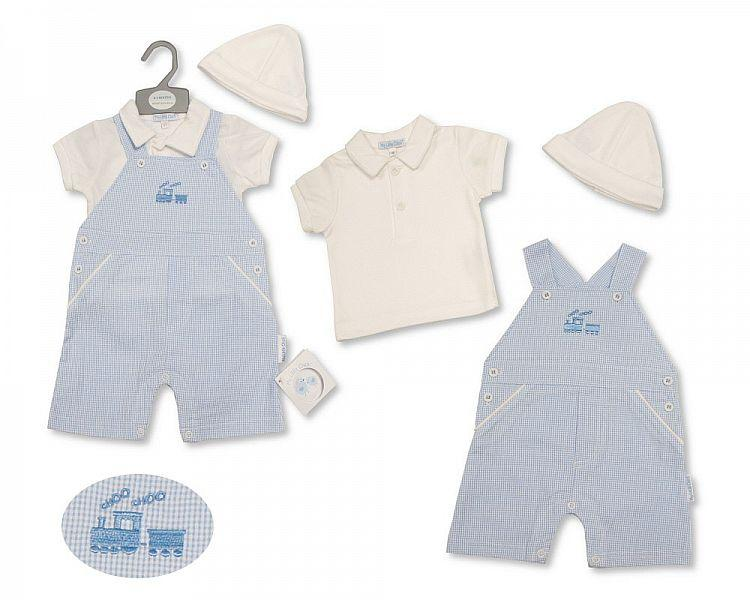 Baby Boys Dungaree Set with Hat - Train - 2186