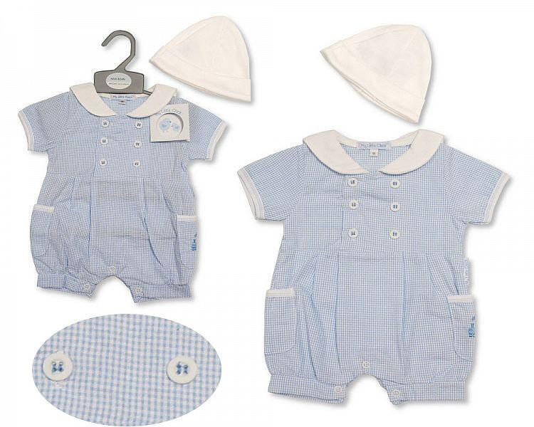 Baby Boys Romper with Hat - Train - 2188