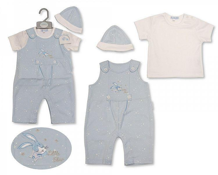 Baby Boys Dungaree Set with Hat - Little Star - 2197