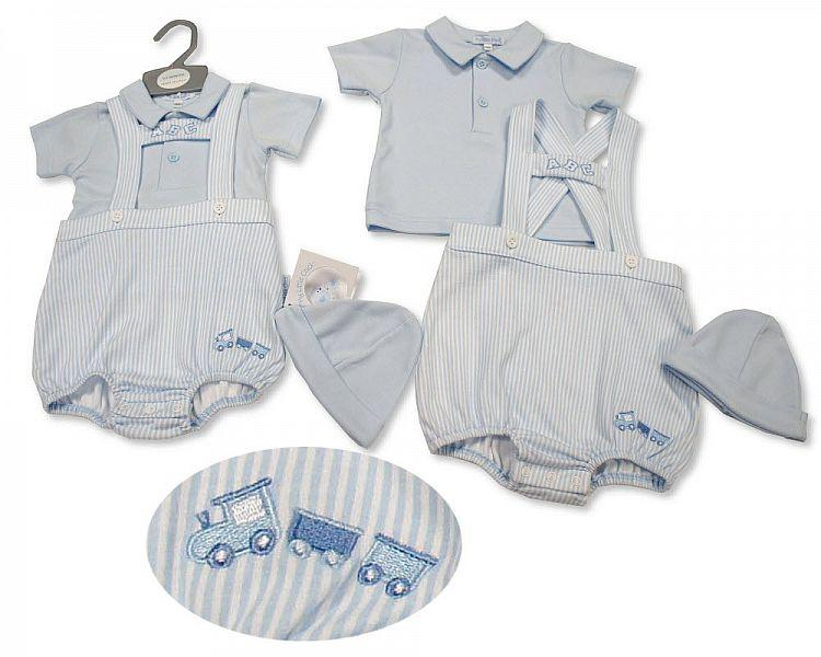 Baby Boys 2 pcs Dungaree Set with Hat - Abc (NB-6 Months) Bis-2100-2256