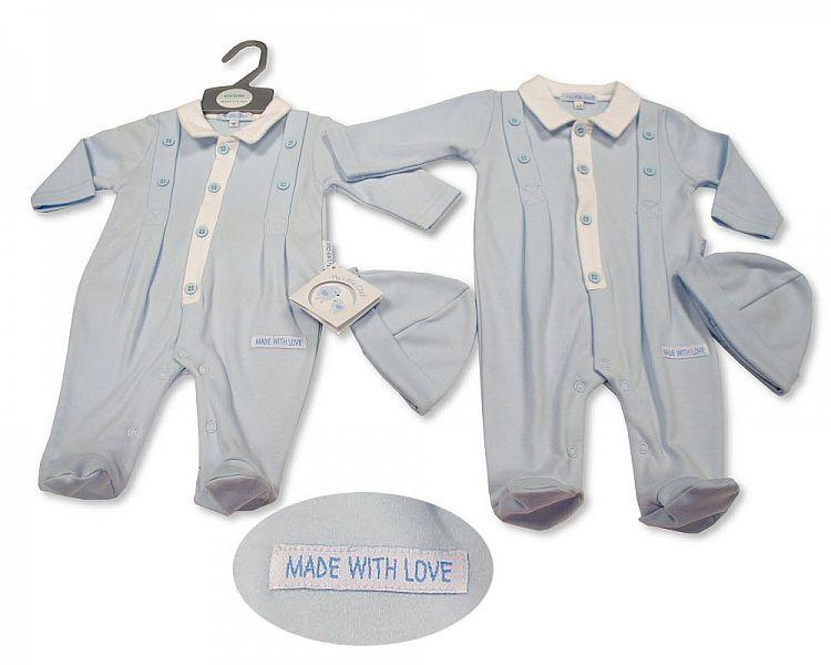 Baby Boys All-In-One with Hat - Made with Love (NB-6 Months) Bis-2100-2262