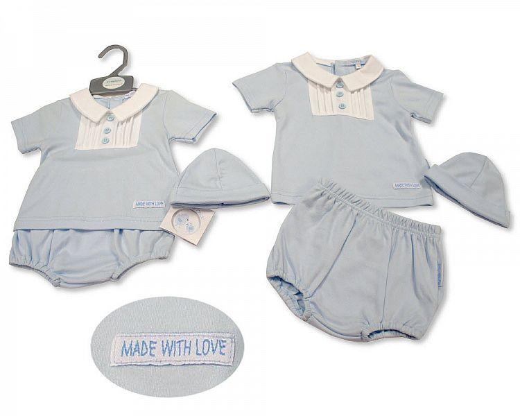 Baby Boys 2 pcs Set with Hat - Made with Love (0-6 Months) Bis-2100-2263