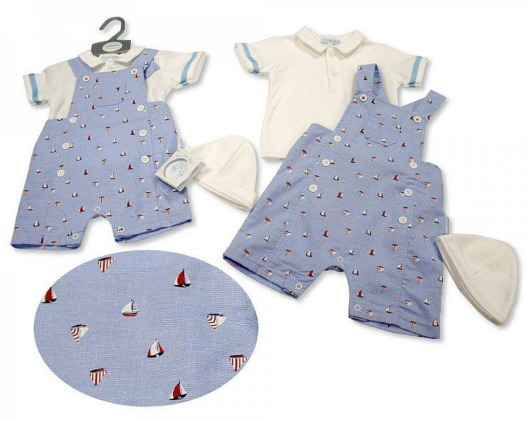 Baby Boys 2 pcs Dungaree Set with Hat - Sailing (NB-6 Months) Bis-2100-2265
