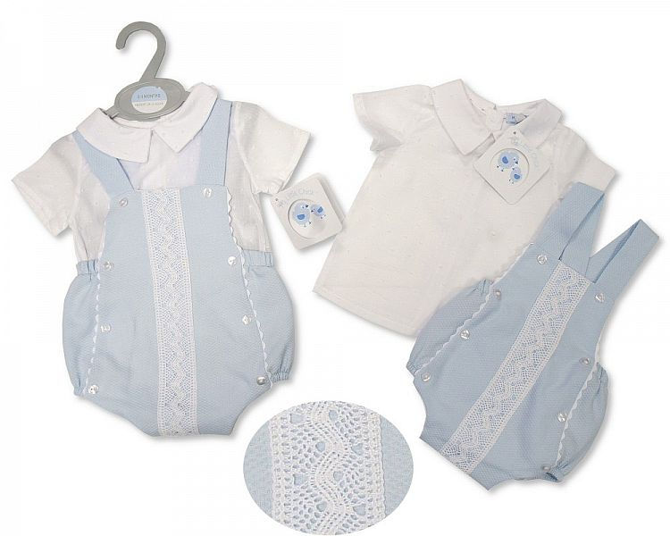 Baby Boys 2 Pieces Cotton Dungaree Set with Lace (NB-6 Months)-2100-2388