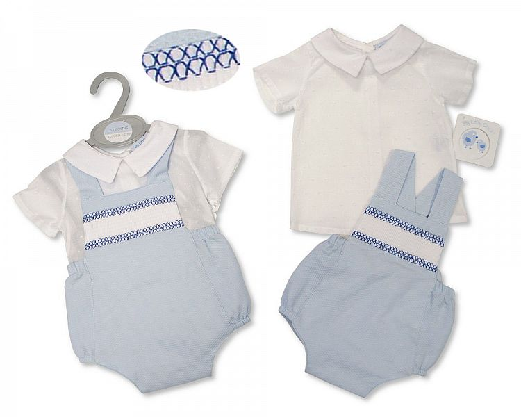 Baby Boys 2 Pieces Cotton Dungaree Set with Smocking (NB-6 Months)-2100-2389