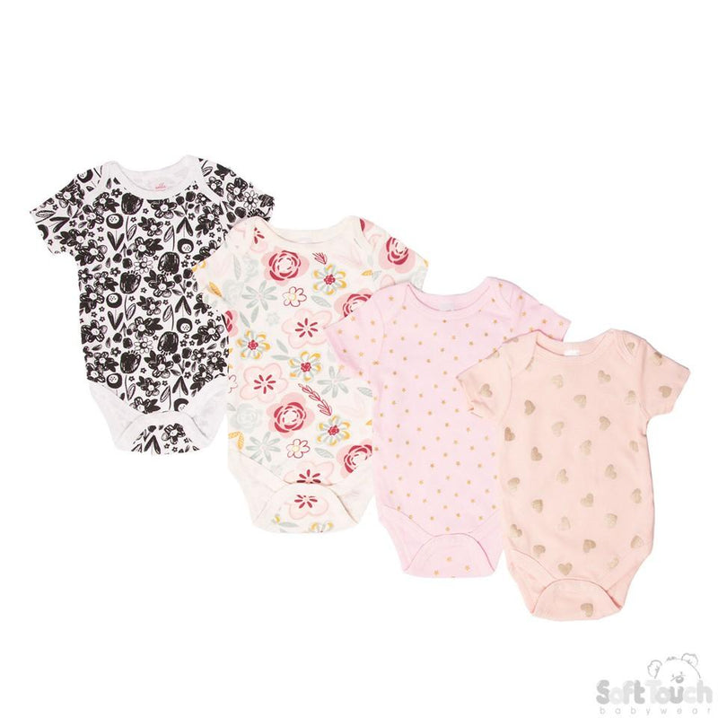 Infants Printed Short Sleeved Bodysuit -NB-3M-(BS4655-nb-3) - Kidswholesale.co.uk