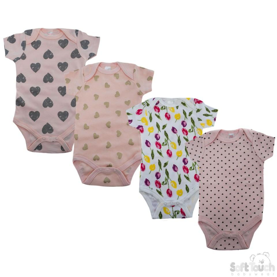 Infants Printed Short Sleeved Bodysuit - 3-6M - (BS4655-3-6M)