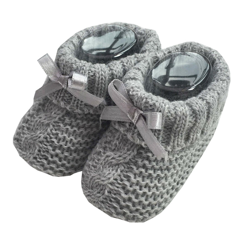 Knitted Baby Booties With Bow- Grey (0-3 Months) Bss-116-354 G - Kidswholesale.co.uk