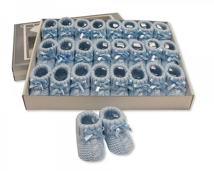 Knitted Baby Booties With Bow- Sky (0-3 Months) Bss-116-354S - Kidswholesale.co.uk