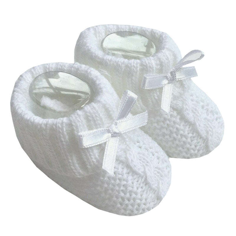 Knitted Baby Booties With Bow- White (0-3 Months) Bss-116-354W - Kidswholesale.co.uk
