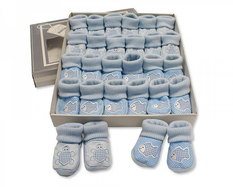 Baby Booties with Embroidery - Tortoise/ Fish - Sky (0-3 Months) BSS-116-356