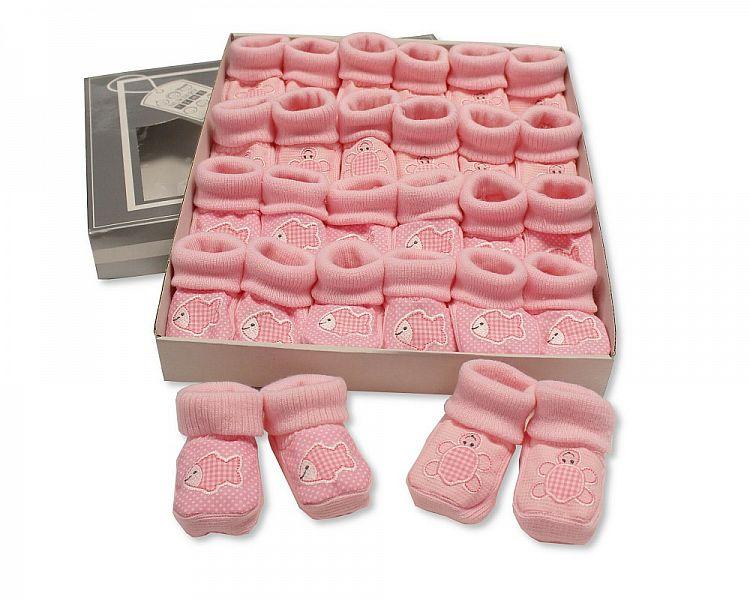Baby Booties with Embroidery - Tortoise/ Fish - Pink (0-3 Months) BSS-116-357