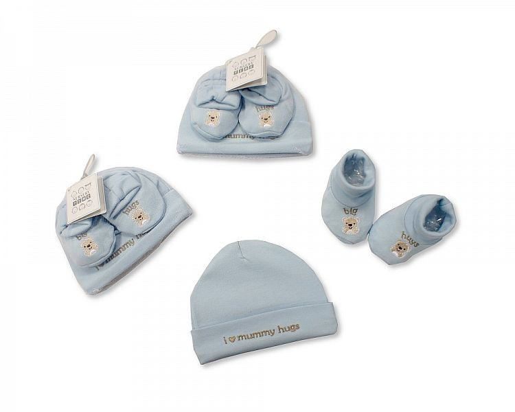 Baby Hat and Booties Set - Hugs - Boys