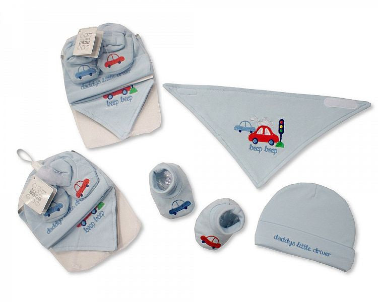 Baby Bib, Hat and Booties Set - Beep, Beep
