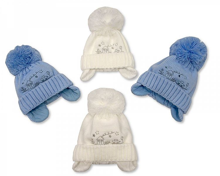 Baby Boys Pom-Pom Hat with Cotton Lining (0-9 Months) Bw 0503-0316