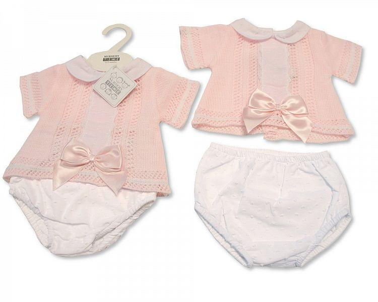 Baby Girls Knitted 2 pcs Set with Bow and Lace (NB-9 Months) Bw-10-003