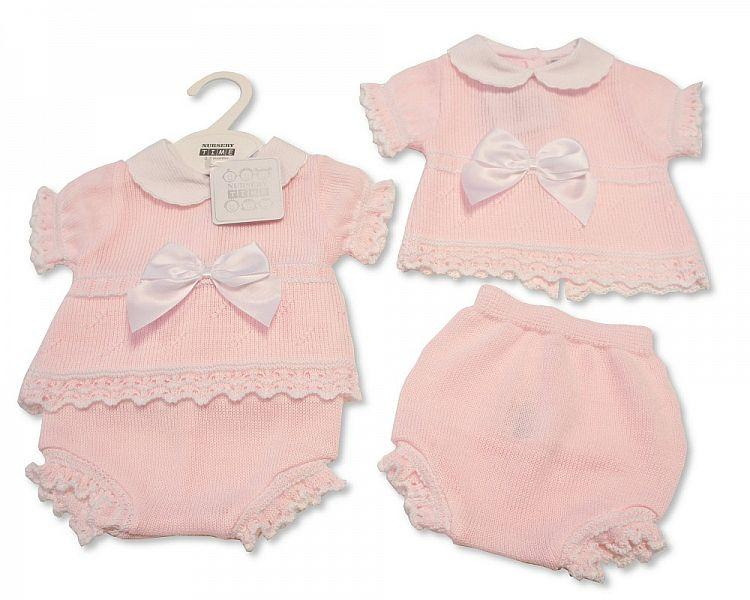 Baby Girls Knitted 2 Pieces Set with Bow (NB-9 Months) Bw-10-008