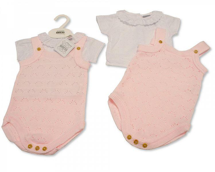 Baby Girls Knitted 2 pcs Dungaree Set (NB-9 Months) Bw-10-021