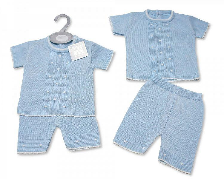 Baby Boys Knitted 2 pcs Short Set (NB-9 Months) Bw-10-071