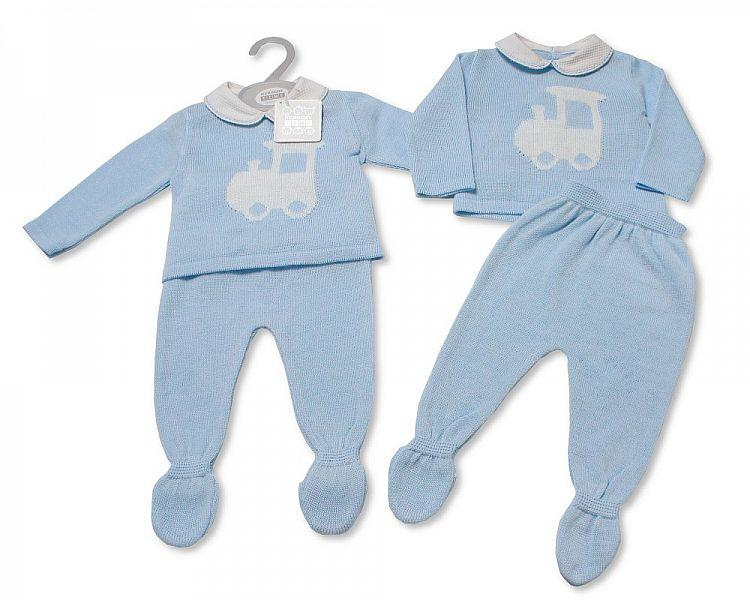 Baby Boys Knitted 2 pcs Pram Set - Train (NB-9 Months) Bw-10-075