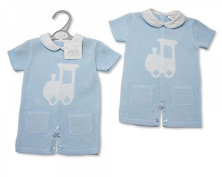 Baby Boys Knitted Romper - Train (NB-9 Months) Bw-10-076