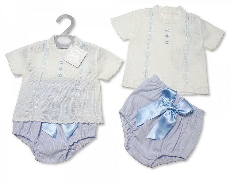 Baby Boys Knitted 2 pcs Set with Bow (NB-9 Months) Bw-10-079