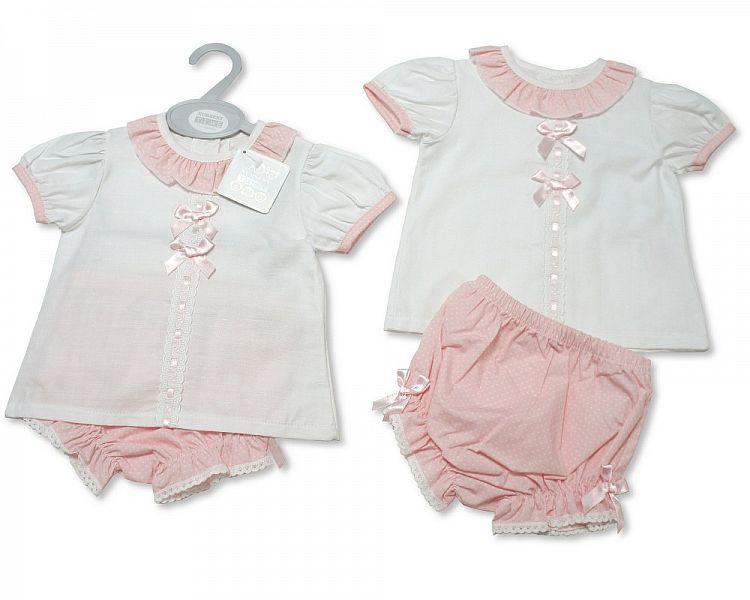 Baby Girls 2 Pieces Set with Bows (NB-9 Months)  Bw-10-082