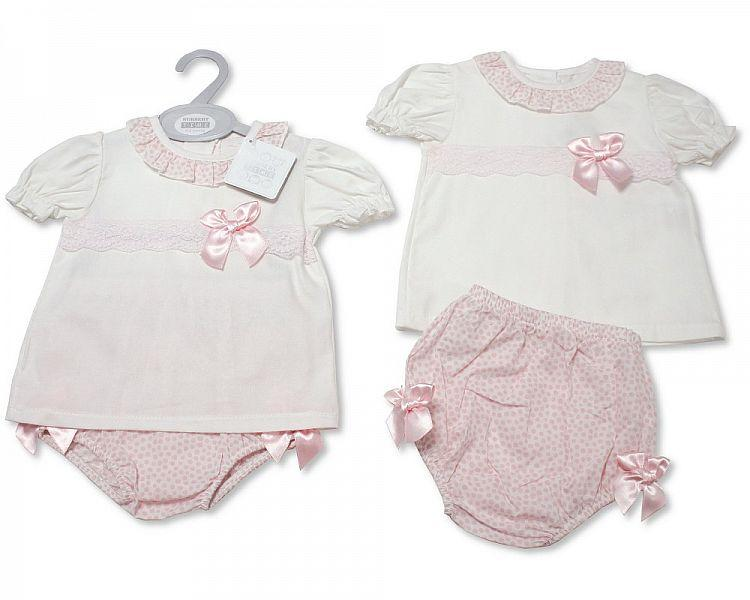 Baby Girls 2 Pieces Set with Bows (NB-9 Months) Bw-10-083