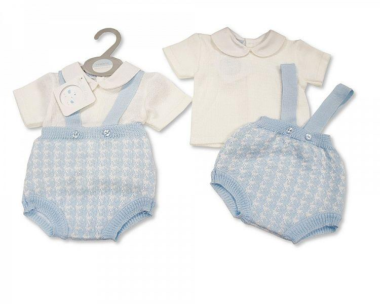 Knitted Baby Boys 2 pcs Set with Suspenders (0-9 Months) Bw-10-096 - Kidswholesale.co.uk