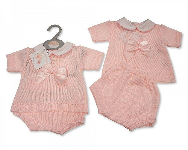 Knitted Baby Girls 2 pcs Set with Bow (0-9 Months) Bw-10-106