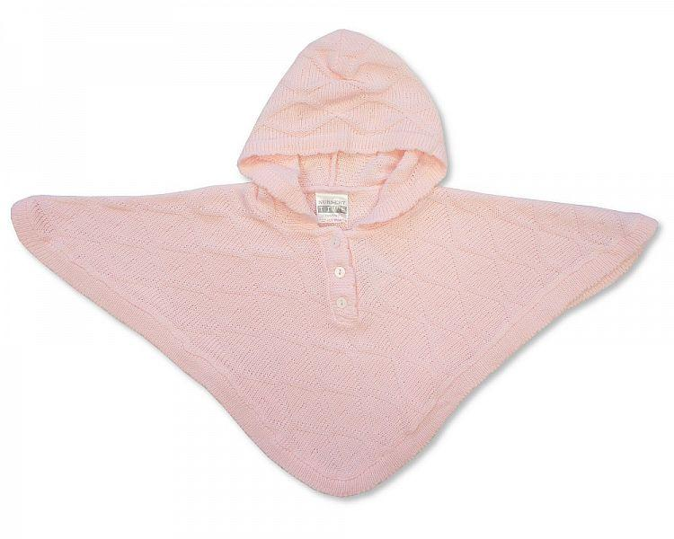 Baby Knitted Poncho - Pink - NB/6M - (BW-10-467P)