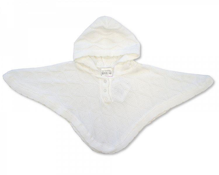 Baby Knitted Poncho - White - NB/6M - (BW-10-467W)