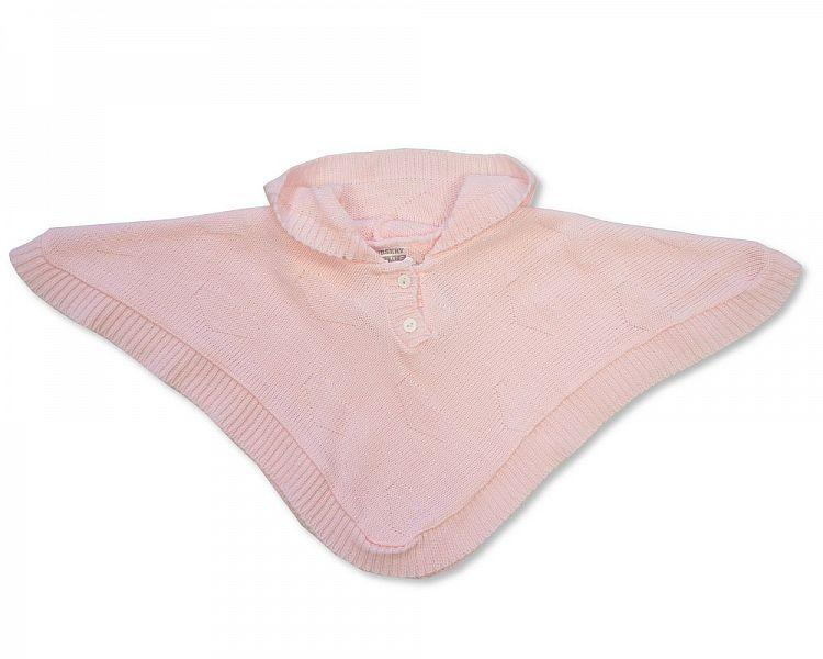 Baby Knitted Poncho - Pink - NB/6M - [BW-10-468]