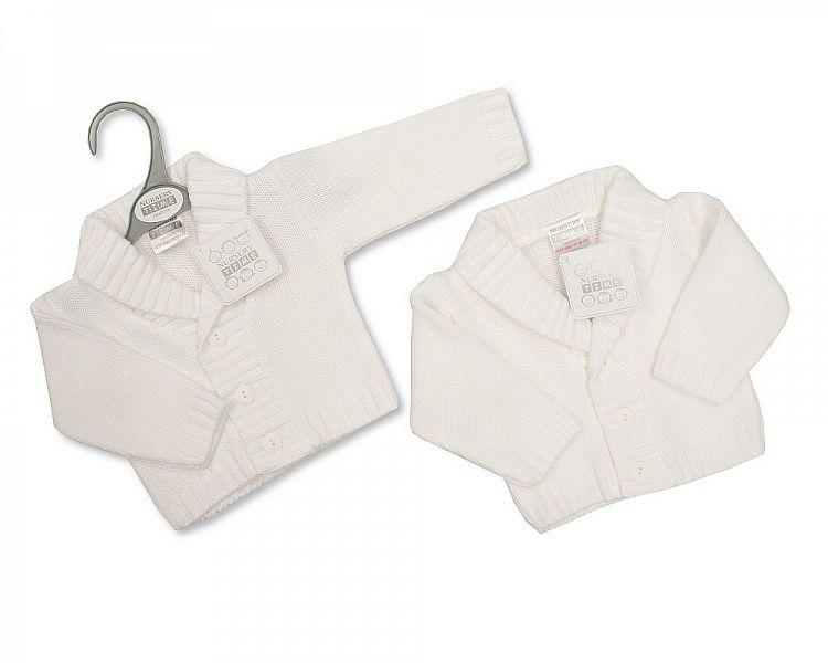 Knitted Baby Boys Cardigan - White - NB/6M - (Bw-10-511W)