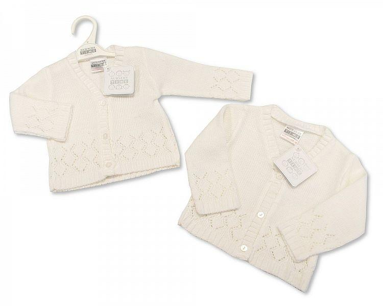 Knitted Baby Girls Cardigan - White - NB/6M - (BW-10-541)