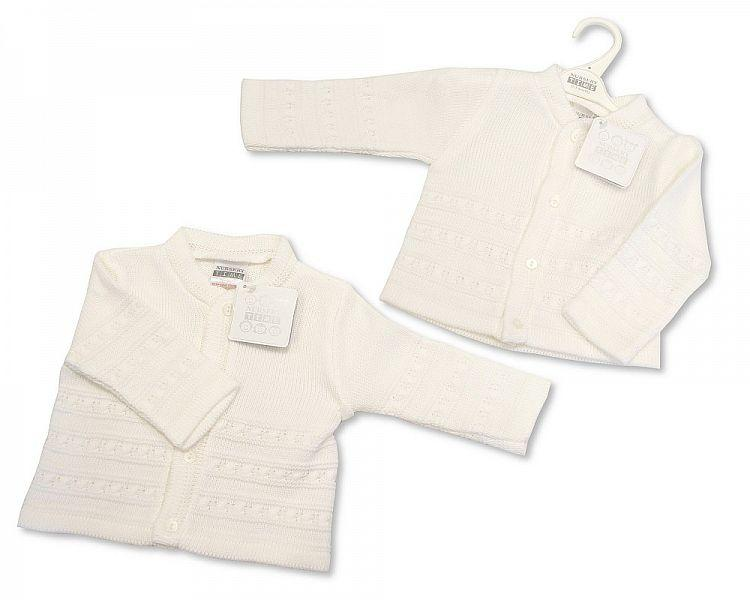 Knitted Baby Boys Cardigan - White - NB/6M - (BW-10-542)