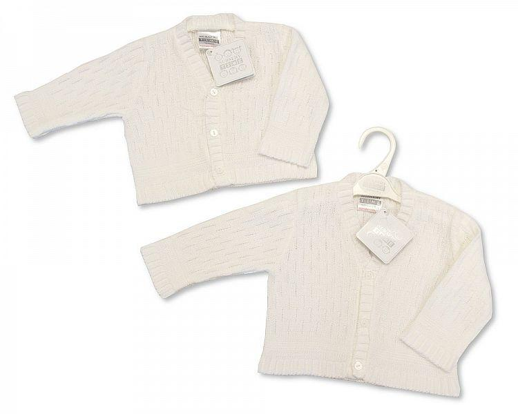 Knitted Baby Boys Cardigan - White - NB/6M - (BW-10-543)