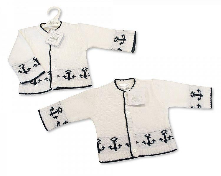 Knitted Baby Boys Cardigan - Anchor - NB/6M - (BW-10-544)