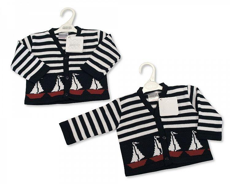 Knitted Baby Boys Cardigan - Boats - NB/6M - (BW-10-545)