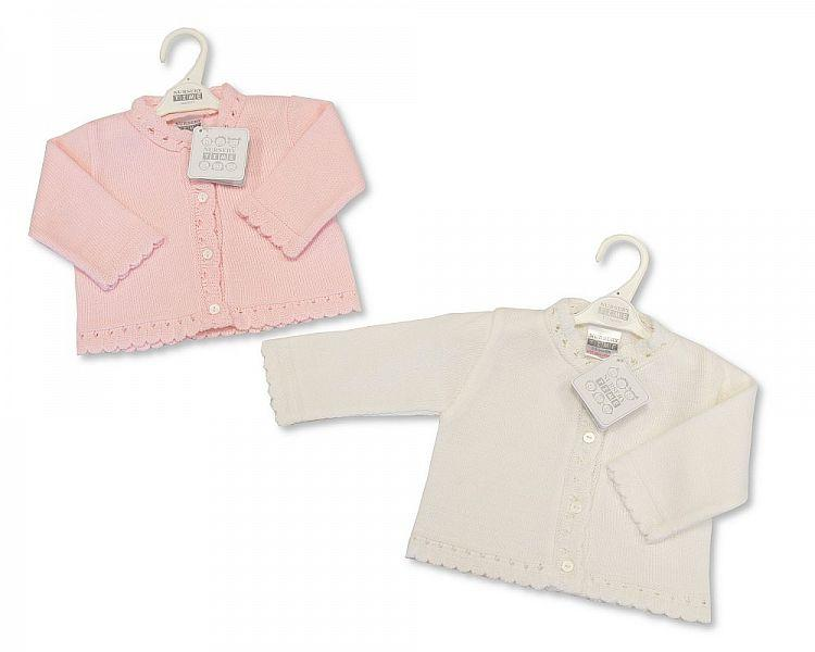 Knitted Baby Girls Cardigan - P/W - NB/6M - (BW-10-546)