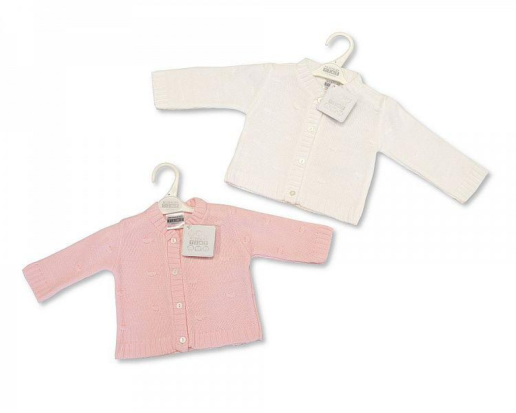Knitted Baby Girls Cardigan - P/W - NB/6M - (BW-10-547)