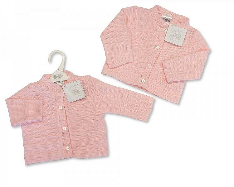 Knitted Baby Girls Cardigan - Pink - NB/6M - (BW-10-549)