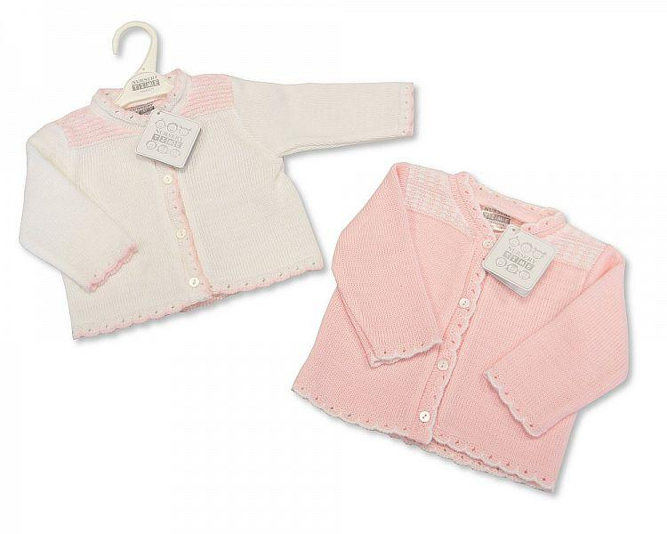 Knitted Baby Girls Cardigan - P/W - NB/6M - (BW-10-550)