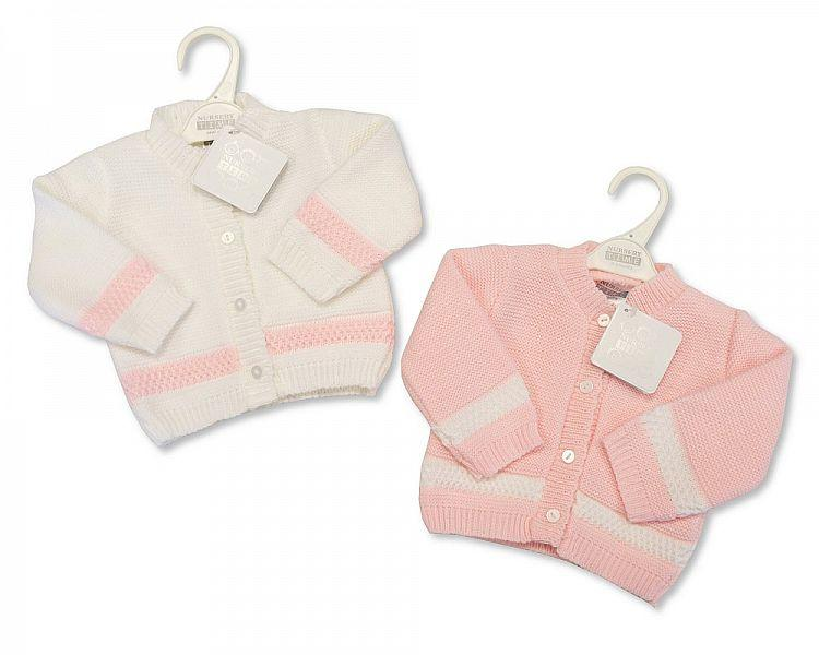Knitted Baby Girls Cardigan - P/W - 6/24M - (BW-10-551A)